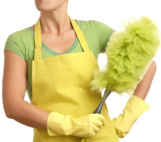 a-woman-holding-a-green-feather-duster-7826753